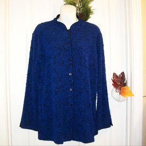 "CHICO""S Button Front Stretch Lace Look Jacket"